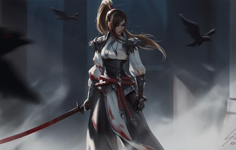 Фото обои взгляд, девушка, птицы, оружие, воин, фэнтези, арт, ворон