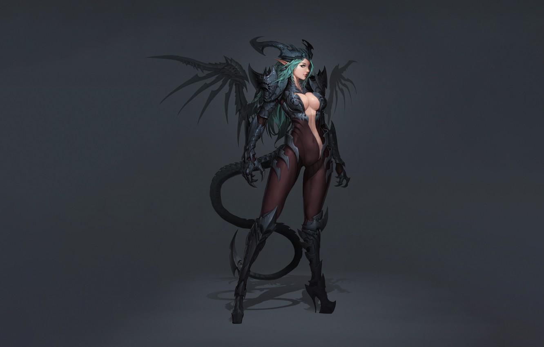 Фото обои Girl, Fantasy, Art, Style, Background, Illustration, Minimalism, Lee, Character, Eusang, Demon Succubus