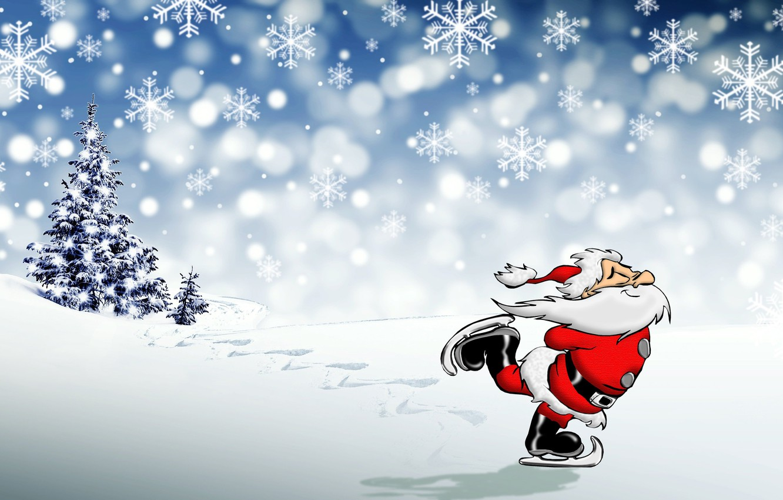 Фото обои фото, Снежинки, Новый год, Борода, Дед Мороз, Коньки