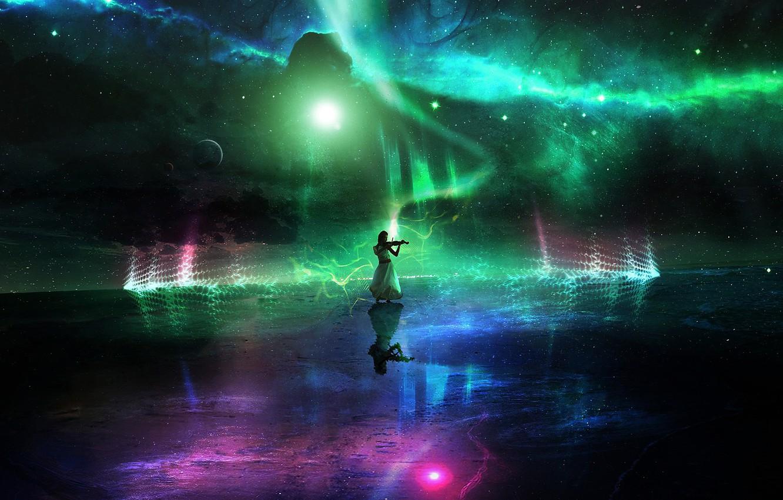 Фото обои lights, colorful, woman, stars, planets, galaxy, digital Art, nightsky