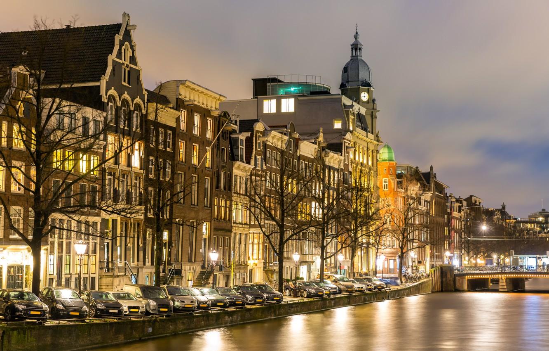 Фото обои ночь, city, город, lights, огни, река, Амстердам, panorama, night, Amsterdam, Голландия, Netherlands, Canal