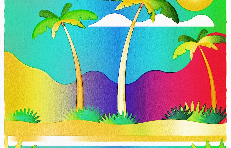 Фото обои солнце, горы, пальмы
