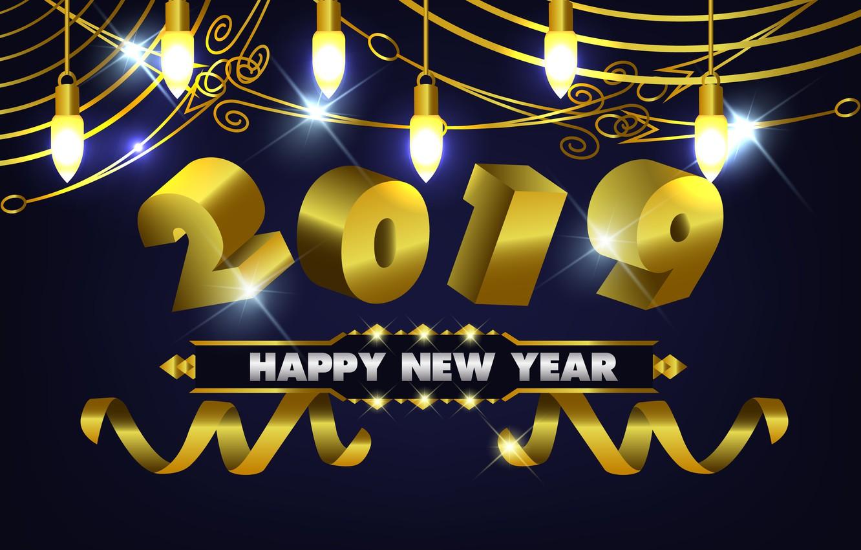 Фото обои золото, Новый Год, цифры, golden, черный фон, black, background, New Year, Happy, sparkle, 2019