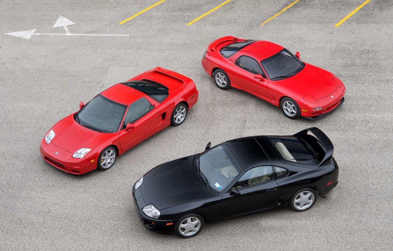 Фото обои Red, Black, Toyota Supra, Mazda RX-7, Honda NSX