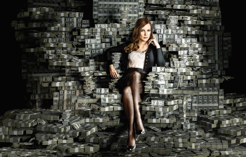 Фото обои девушка, деньги, доллары, валюта, Jessica Chastain, Molly's Game, Большая игра
