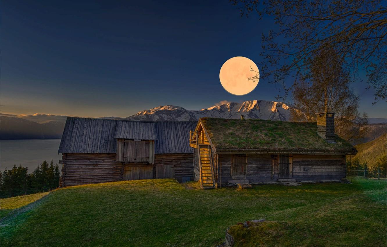 Фото обои пейзаж, горы, природа, рассвет, луна, дома, утро, Норвегия, Jørn Allan Pedersen