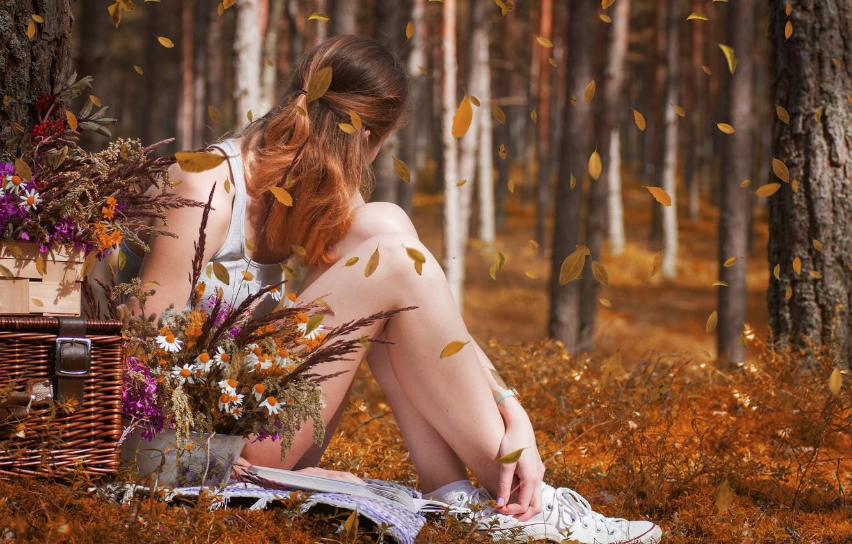 Фото обои девушка, цветы, боке, короб, падают листья, осень в лесу, легкая печаль