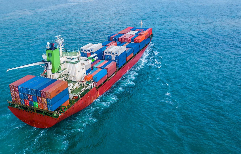 Фото обои ocean, ship, containers