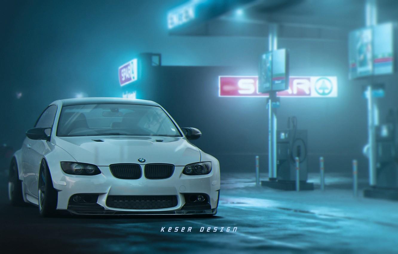 Фото обои Авто, Туман, Ночь, Белый, BMW, Машина, Заправка, BMW M3, Передок, АЗС, Matija Keser, by Matija ...