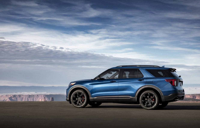Фото обои синий, Ford, вид сбоку, SUV, Explorer, 2020, Explorer ST