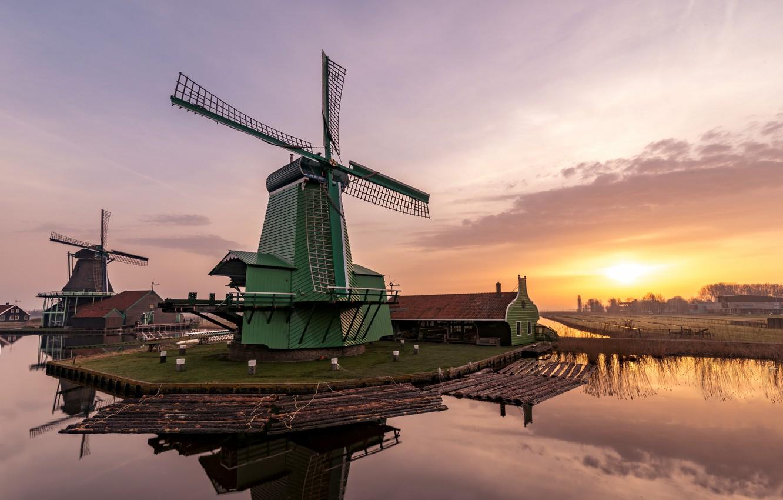 Фото обои рассвет, утро, мельница, Нидерланды, Zaanse Schans
