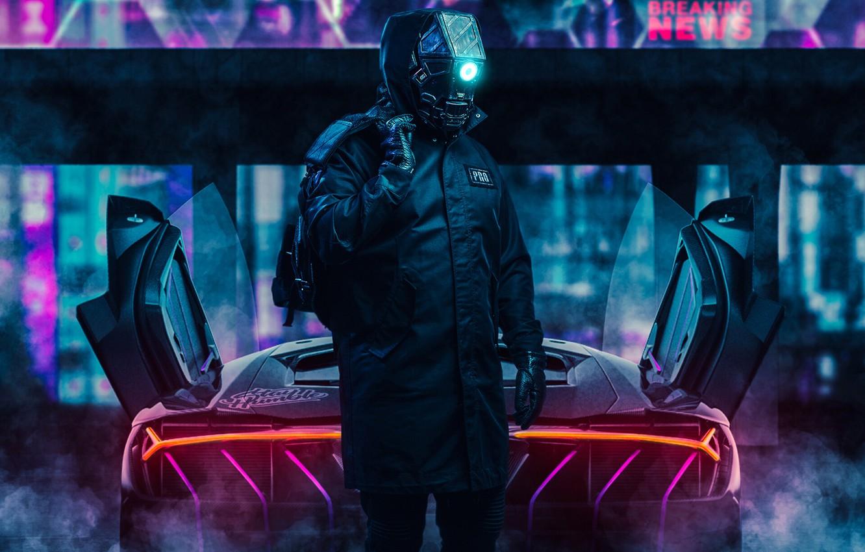 Фото обои Робот, Неон, Car, Fantasy, Art, Robot, Neon, Киборг, Cyborg, Cyberpunk, Transport & Vehicles, by Ilya …