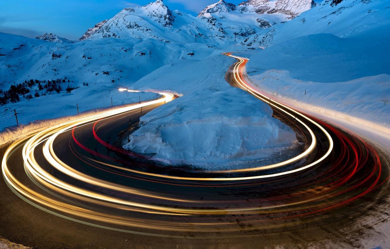 Фото обои road, photography, landscape, nature, night, winter, snow, Mountains, long exposure, light trails