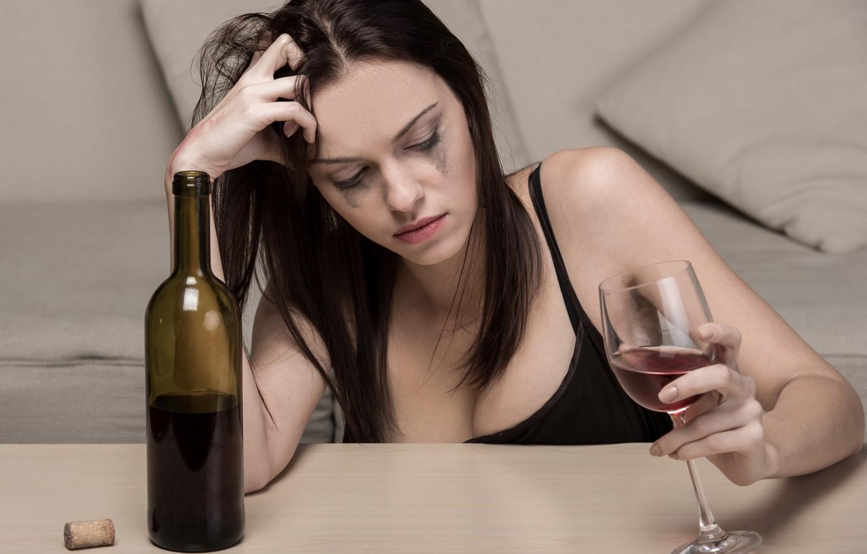 Фото обои настроение, вино, Девушка