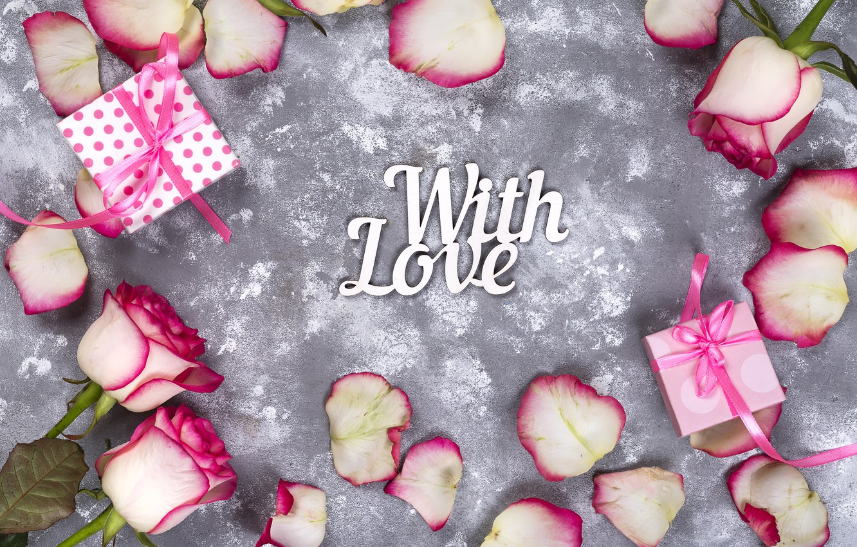 Фото обои цветы, подарок, розы, лепестки, love, розовые, white, pink, flowers, beautiful, romantic, valentine's day, petals, roses, …