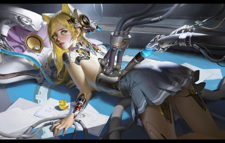 Фото обои робот, аниме, арт, зарядка, LAO WANG, ARTWORK