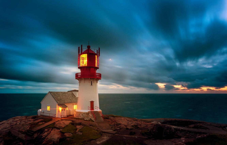 Фото обои море, небо, маяк, Норвегия, Norway, Маяк Линдеснес, Lindesnes Lighthouse, Пролив Скагеррак, Skagerrak Strait, Мыс Линдеснес