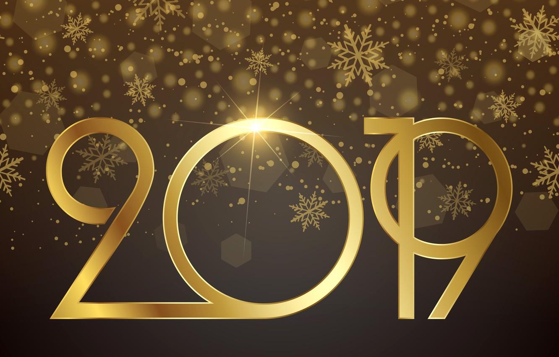 Фото обои золото, Новый Год, цифры, golden, background, New Year, Happy, sparkle, 2019