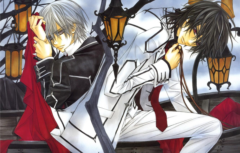 Фото обои фонари, эмблема, гроб, школьная форма, art, kuran kaname, студенты, красная ткань, vampire knight, рыцарь-вампир, два …
