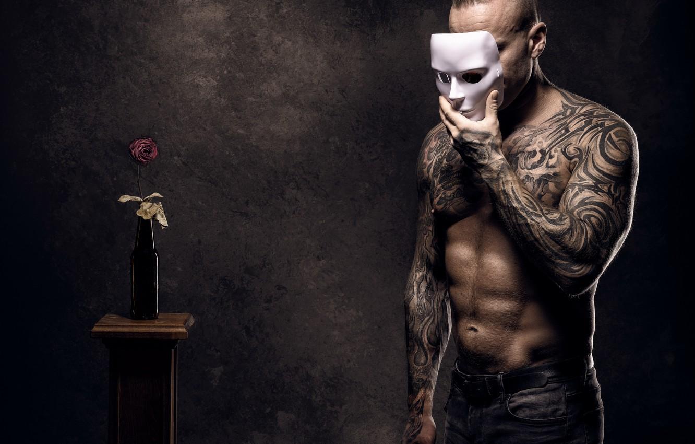 Фото обои фон, человек, маска