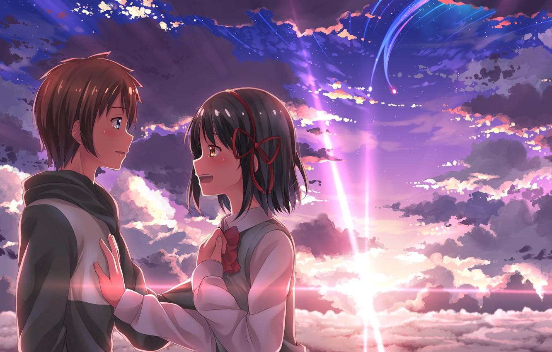 Фото обои девушка, закат, аниме, арт, парень, двое, Kimi no Na wa