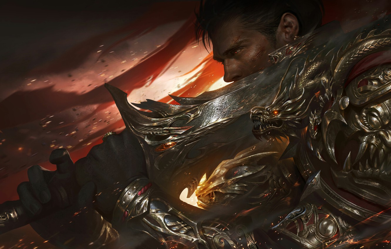 Фото обои оружие, меч, доспехи, воин, фэнтези, арт, профиль, мужчина, азгляд
