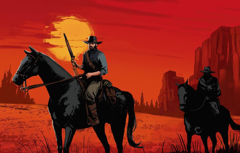 Фото обои Закат, Игра, Арт, Rockstar, Concept Art, Cowboy, Western, Game Art, Red Dead Redemption 2, Environments, ...
