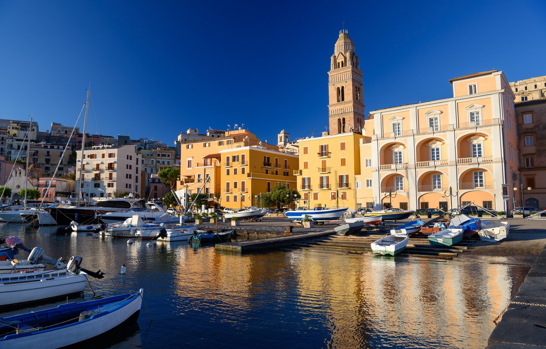 Фото обои дома, порт, Италия, колокольня, Гаэта
