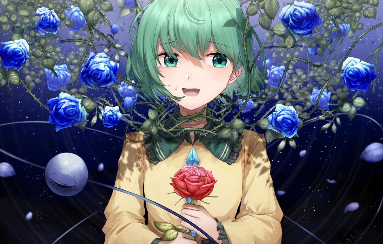 Фото обои девушка, розы, Touhou, синие розы, Koishi Komeiji, Тохо, Тоухоу