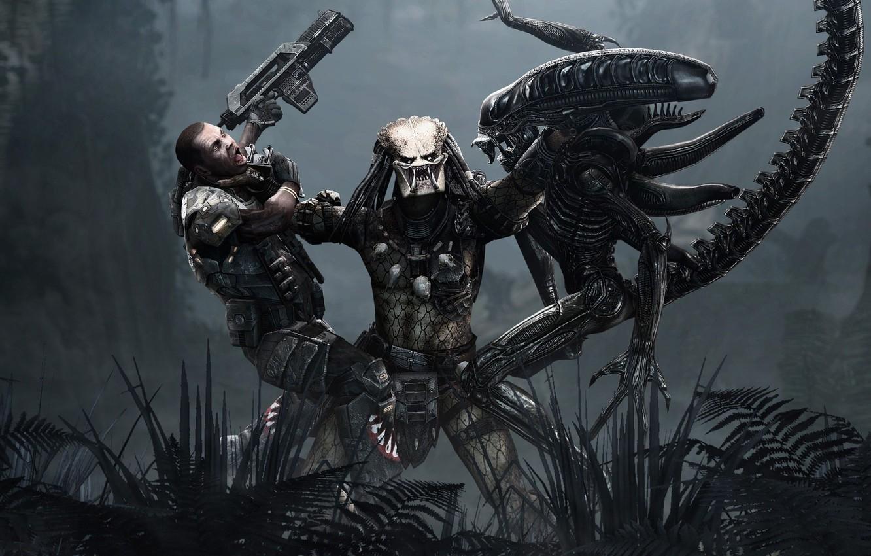 Фото обои Игра, Чужой, Хищник, 2010, Фантастика, Aliens vs Predator, Game, SEGA, Rebellion Developments