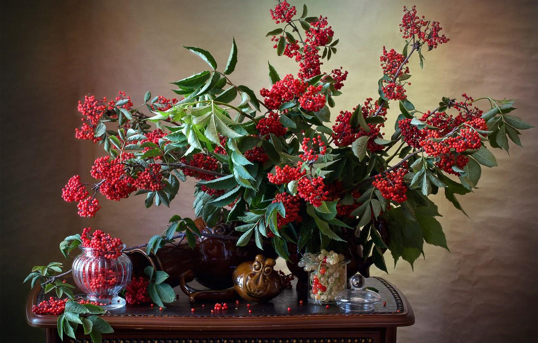 Фото обои ветки, ягоды, натюрморт, столик, смородина, вазочка, грозди, бузина, Мила Миронова