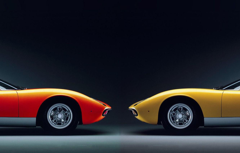 Фото обои dual monitor, тёмный фон, Lamborghini Miura