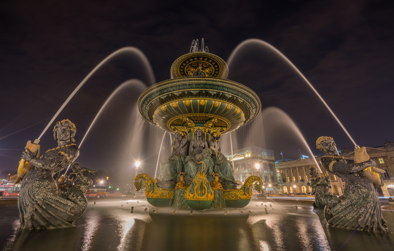 Фото обои ночь, город, огни, Франция, Париж, дома, фонари, фонтан, Fontaine des Mers