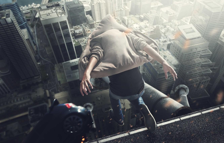 Фото обои Хаос, Прыжок, Крыша, Прыжок с крыш