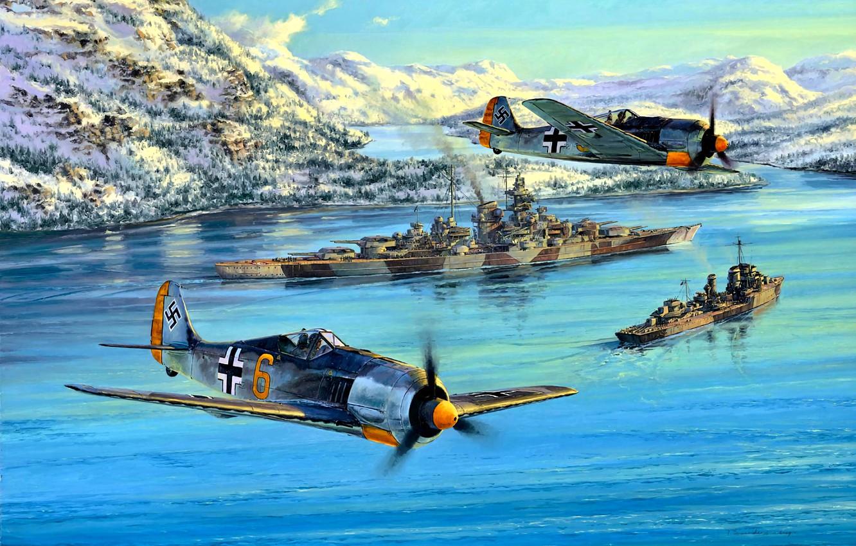 Фото обои Германия, Линкор, Эсминец, Патруль, Fw.190, ''Тирпиц'', JG5 ''Eismeer''