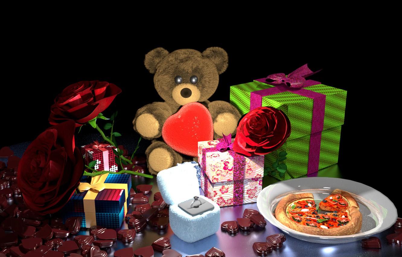 Фото обои цветы, рендеринг, подарок, шоколад, кольцо, арт, мишка, подарки, День Святого Валентина, Valentine's week special, Bhabesh …