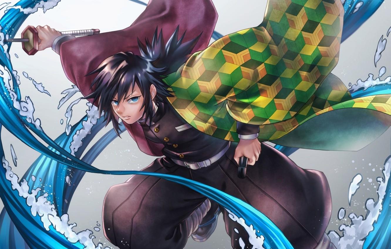 Фото обои sword, anime, blue eyes, katana, boy, Kimetsu no Yaiba, Giyu Tomioka