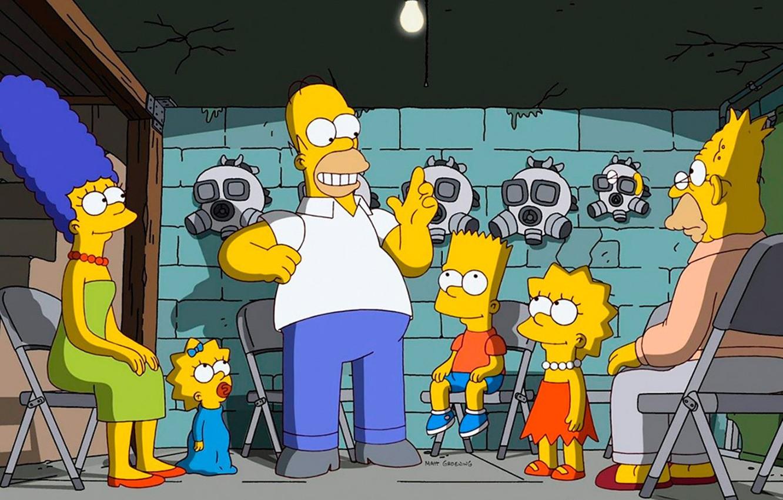 Фото обои Симпсоны, Simpsons, мультсериал, бункер, самоизоляция