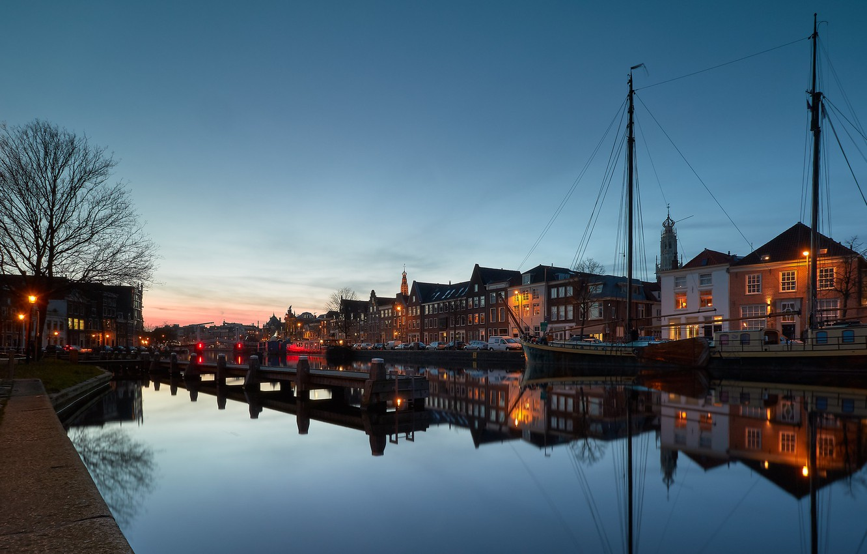 Фото обои огни, вечер, Нидерланды, Голландия, Харлем