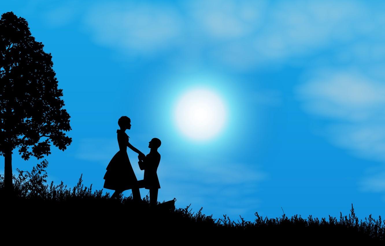 Фото обои ночь, луна, романтика, пара, силуэты, свидание