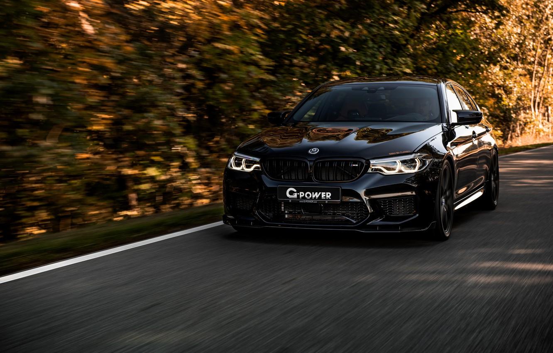 Фото обои чёрный, BMW, седан, G-Power, 2018, BMW M5, четырёхдверный, M5, V8, F90, G5M Bi-Turbo, 800 л.с.