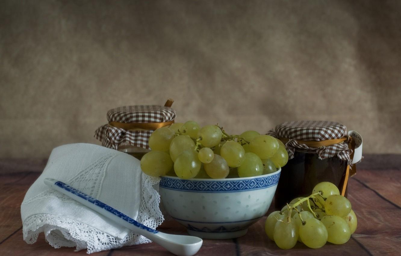 Фото обои виноград, ложка, салфетка