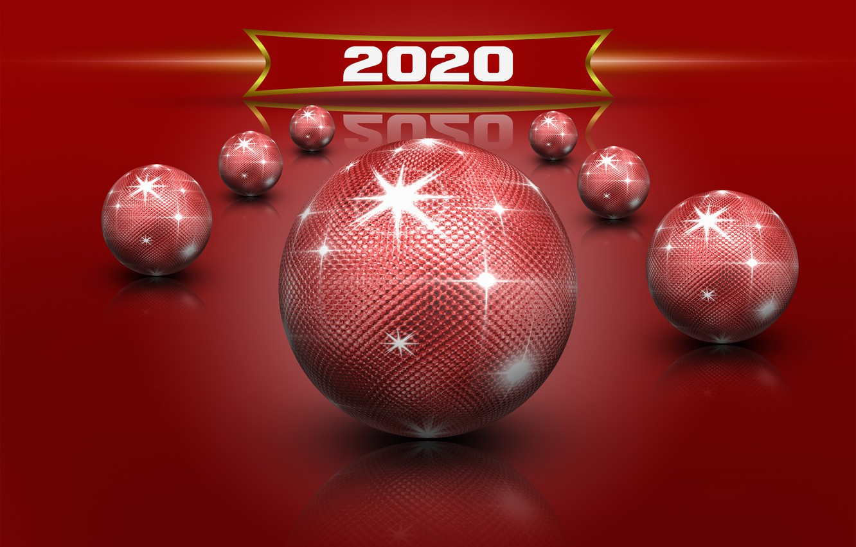 Фото обои звезды, красное, шары, блеск, New Year, рождевство, Новый 2020 год, красные шары отражение, New Year …