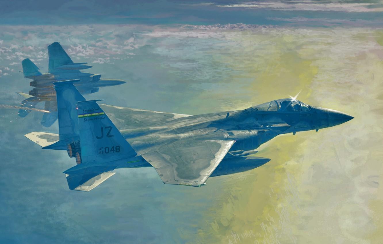Фото обои f15 strike eagle, war, art, airplane, aviation, jet