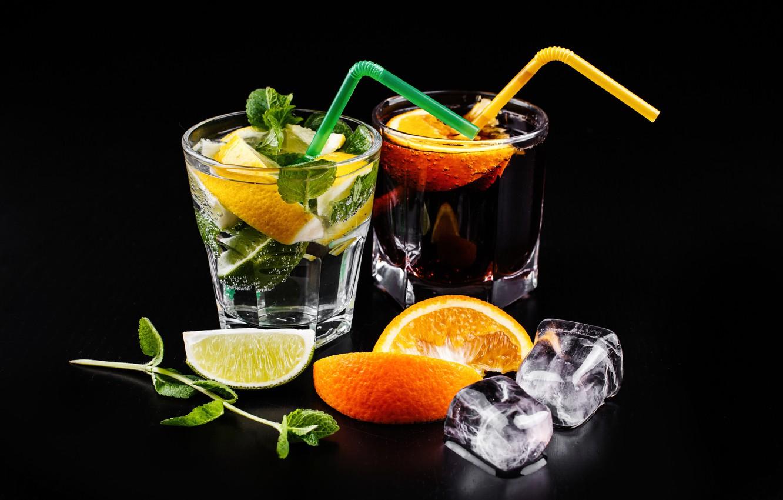 Фото обои апельсин, лёд, коктейль, лайм, напиток, мята, cola, cocktail, Mojito, махито