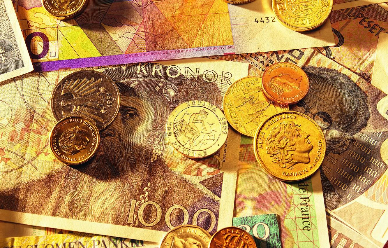 Фото обои деньги, монеты, купюры