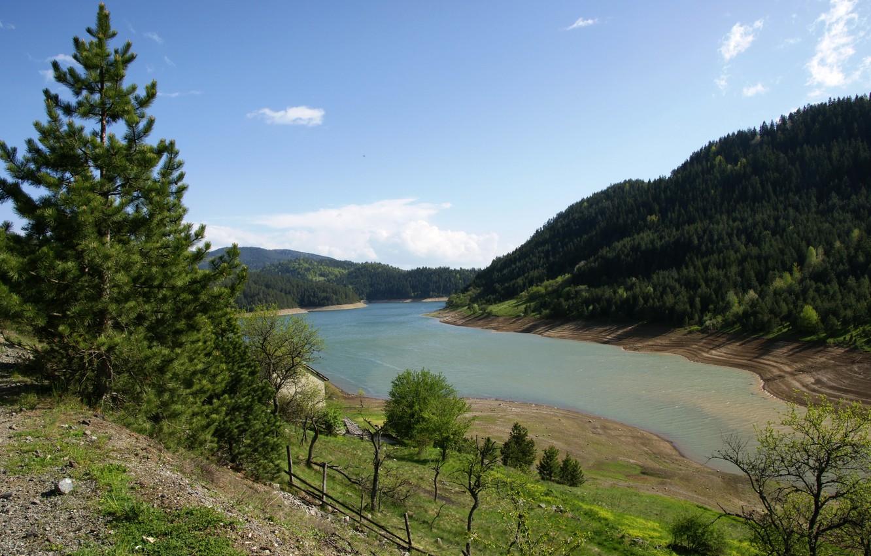 Фото обои Озеро, Пейзаж, Сербия, Zaovine
