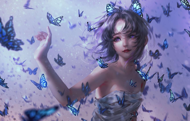 Фото обои Девушка, Girl, Бабочки, Волосы, Kimetsu no Yaiba, Фиолетовые глаза, Purple Eyes, Kochou Shinobu, Demon Slayer: …