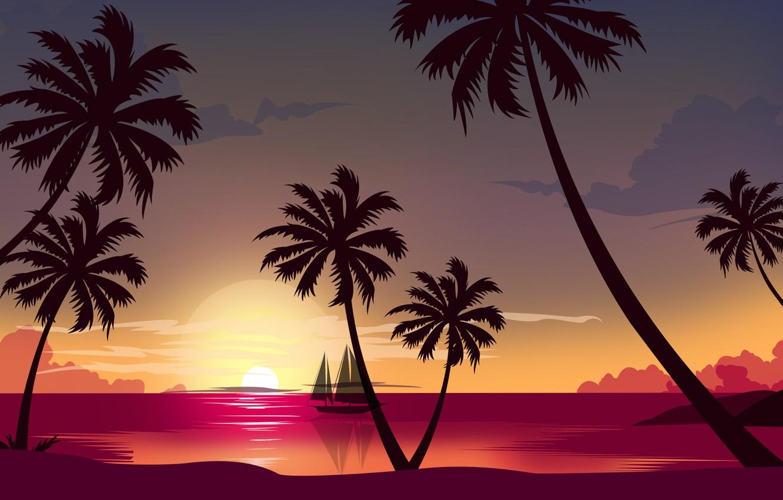 Фото обои Закат, Солнце, Океан, Море, Пляж, Минимализм, Пальма, Корабль, Стиль, Пальмы, 80s, Style, Ocean, Illustration, Sea, …