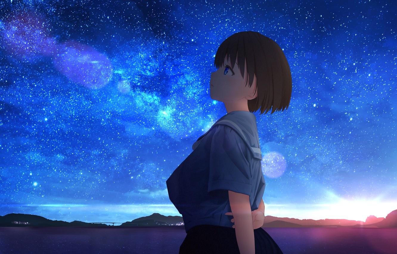 Фото обои небо, вода, звезды, школьница